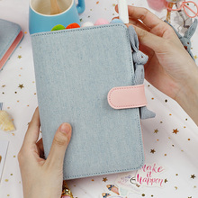 2019 A5 A6 Kawaii Cute cloth Notebook school office stationery Blank line grid dots planner notepad 6 Holes Spiral Ring Binder a5 a6 a7 pvc notebook spiral cover for 6 holes binder planner cover sheet shell transparent concise office school stationery
