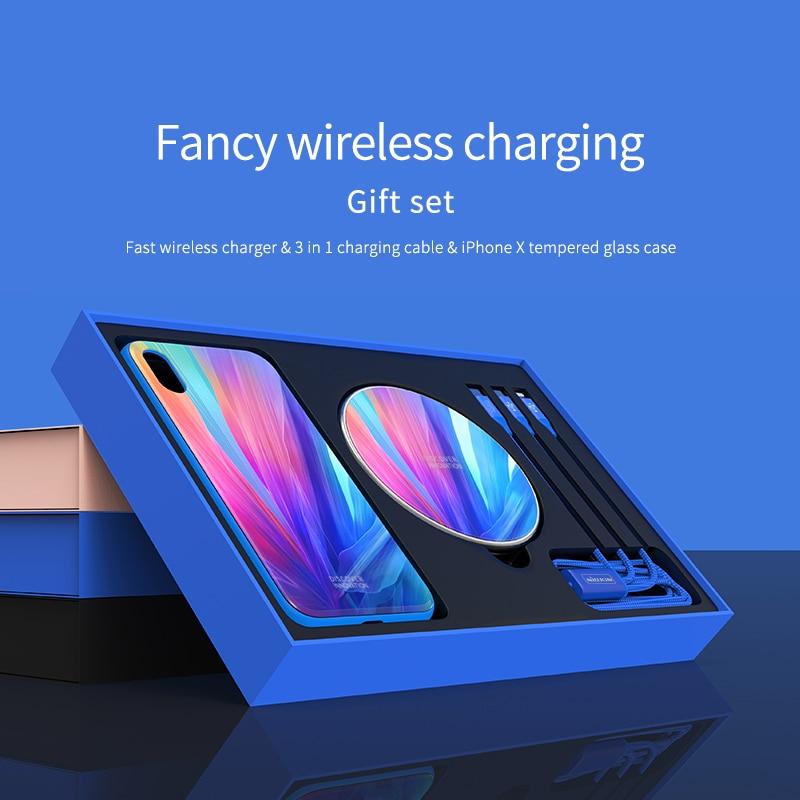 Original NILLKIN Fantaisie Rapide Sans Fil Chargeur Cadeau Ensemble pour iPhone X XS 3 dans 1 Câble de Recharge Et iPhone X XS Trempé Verre Cas