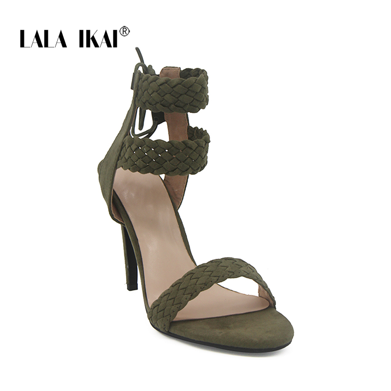 LALA IKAI Ankle Strap Sandals Women Simple Nude High Heels Sandals ...