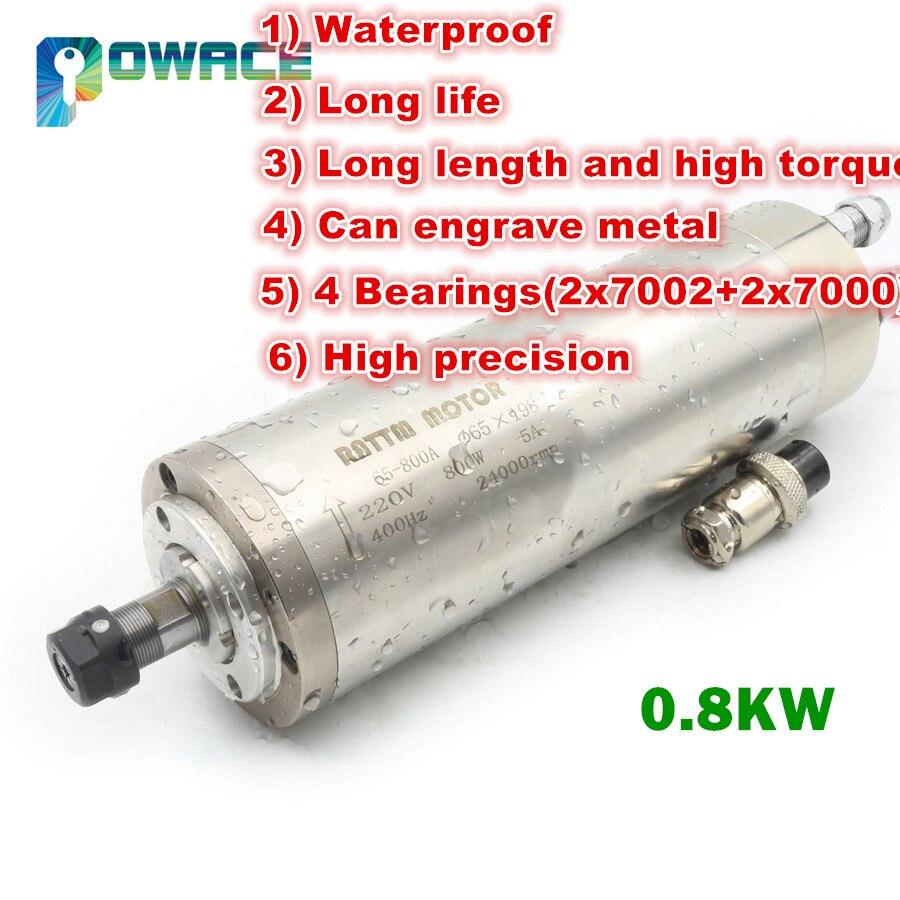 EU STOCK 0 8KW ER11 Waterproof Water Cooled Spindle Motor 220V 400HZ 65mm CNC Milling