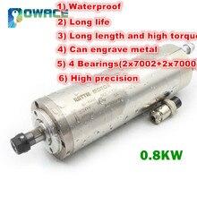 [Ab stok] 0.8KW ER11 su geçirmez su soğutmalı mil motoru 220V 400HZ 65mm CNC freze