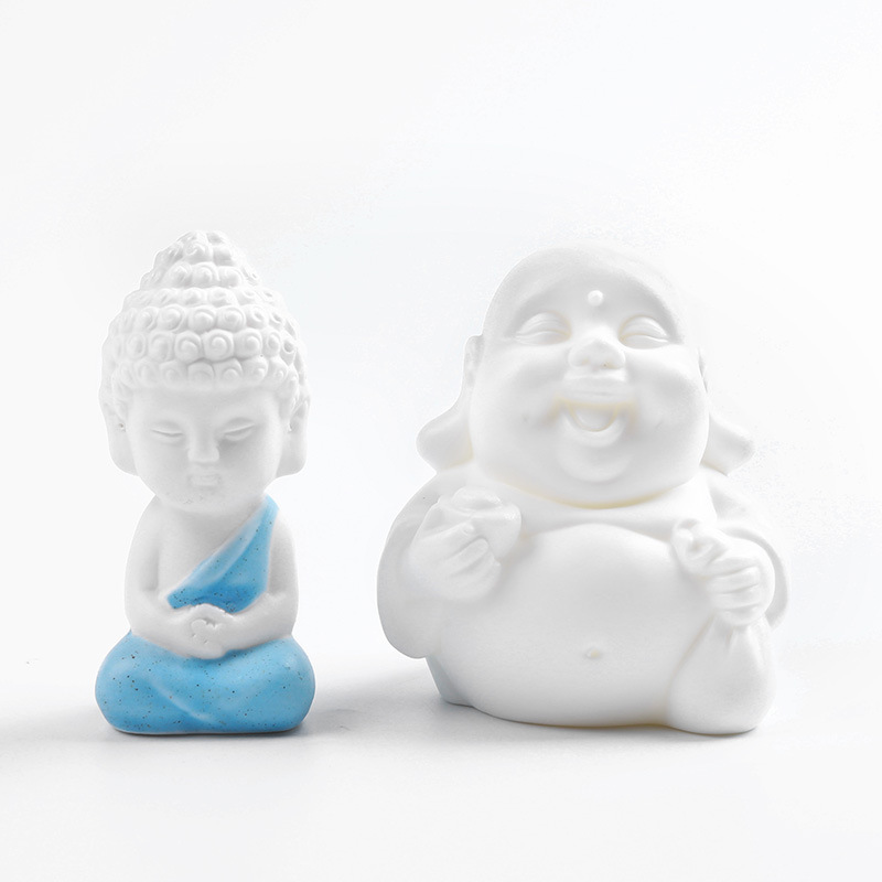 Mini Maitreya Buddha Stutues Miniatures White Porcelain Ceramic Figurines Tathagata TeaPet Garden Home Handcraft Decoration