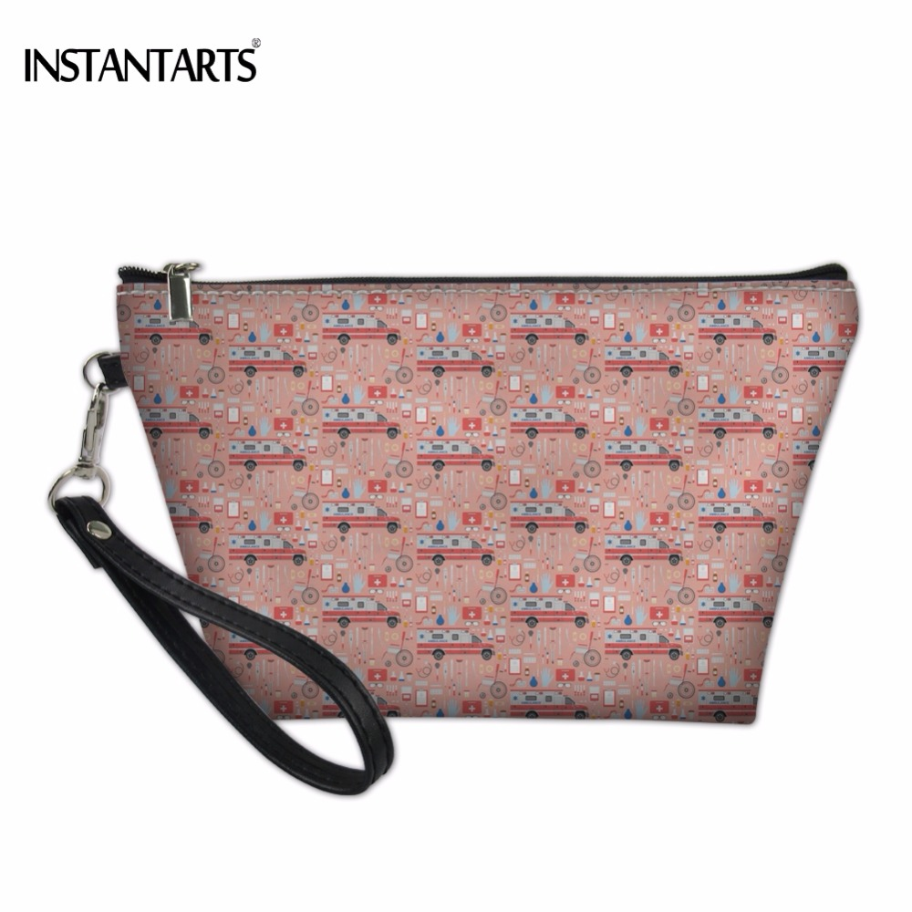 INSTANTARTS 2018 Fashion Brand Woman Makeup Bags Cool Pink Medical Boss Printing Cosmetic Cases for Lady Pouch Travel Organizer