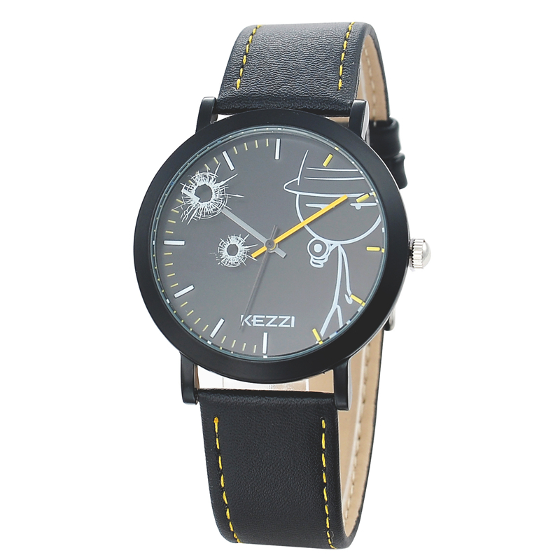 2016 Kezzi New Cartoon Children Watch Boy Girl Kids Movement Waterproof Leather Sports Quartz Wristwatches Relojes