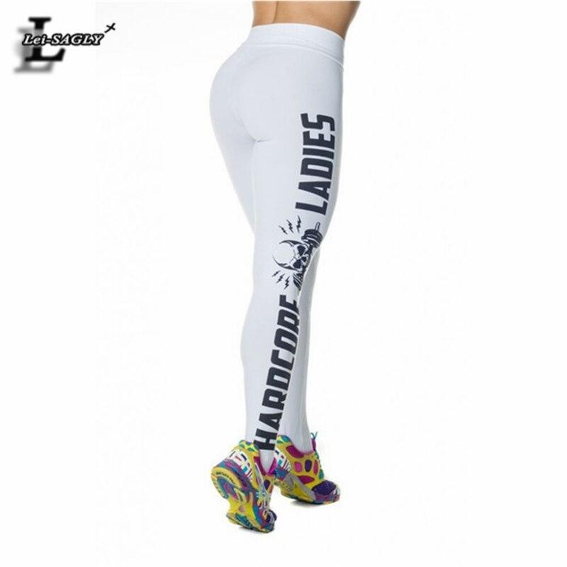 New Design HARDCORE LADIES Skull Letter Leggings Sexy Buttocks Trousers For Women Workout Skinny Leggins Youth Pants SLgs9109