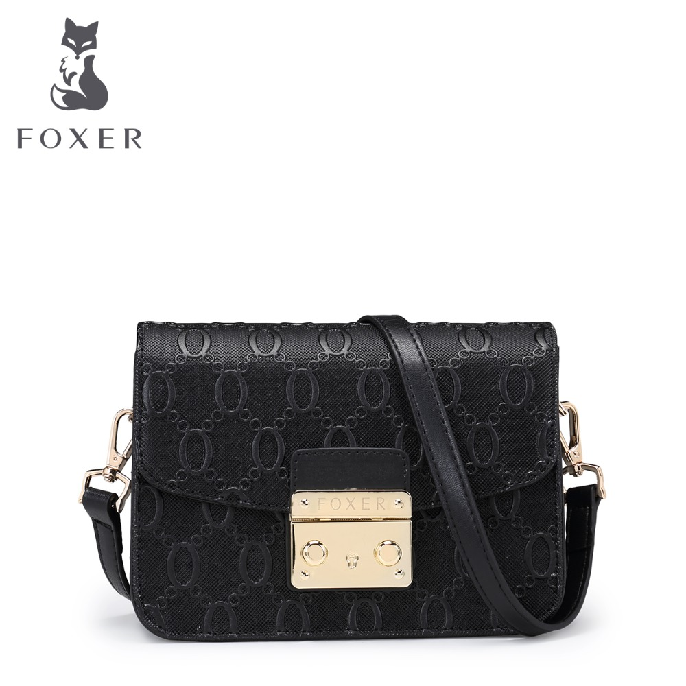 FOXER Brand Women Leather Messenger Bag Shoulder Purses High Quality Girl Snap Crossbody Bags for Female