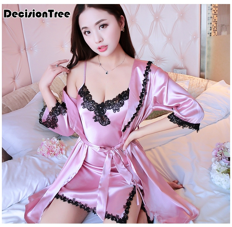 2019 new Two Pieces Sets Elegant Womens Silk Satin   Nightgowns  &  Sleepshirts   Solid Sleepwear Mujer Robe Lady Sexy Nightdress