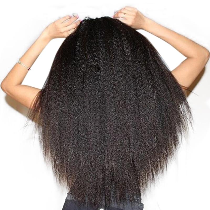 Kinky Prosto Ludzki Włos Koronki Przodu Peruki Pre Oskubane 250% Gęstości Brazylijski Miodu Frontal Hair Wig Bielić Kępki Królowa Remy