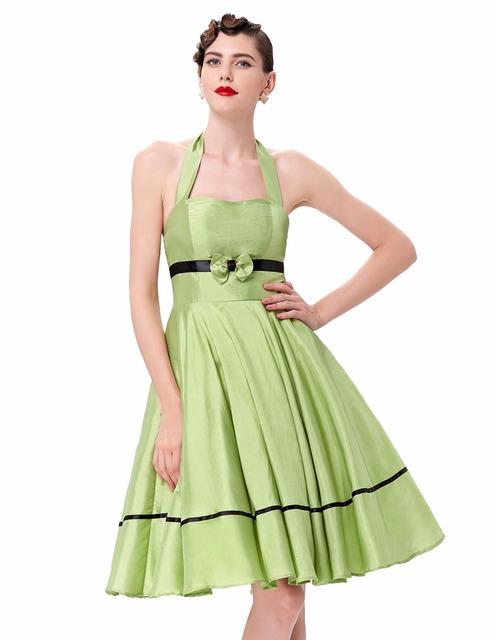 Retro Vintage 1950s Housewife Women Summer Halter Dress Sexy Backless Swing Womens Audrey Hepburn 50s Pinup Rockabilly Dresses