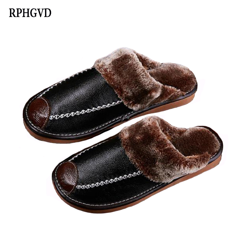 2018 Warm Leather Cotton Slippers Winter Men And Women Home Leather Slippers Couple Home Floor Slip Thick Bottom Slippers