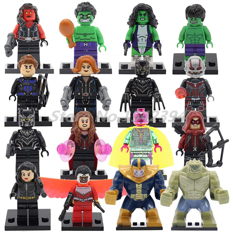 Single Sale The Avengersr Building Blocks Killer Croc Dolls Super Heroes Black Panther Hulk Black Widow Chrom Vision Kids Toys