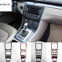 4pcs/lot ABS carbon fiber or wooden grain Central control panel decoration cover for 2012 2015 Volkswagen VW Passat B7