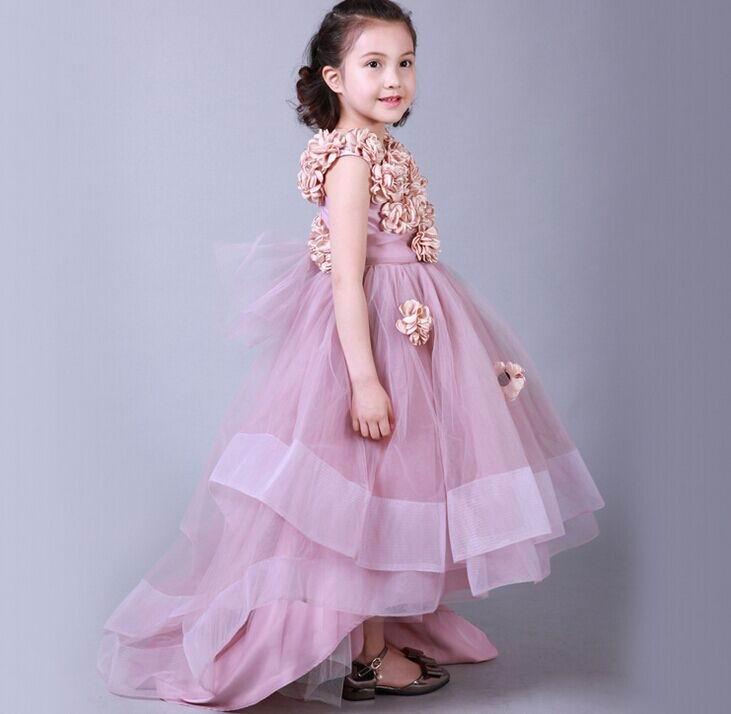 Retail 2017 New Girl Party Dress Champagne Flower Sleeveless Princess Dress Wedding Dress Children Clothing 1173 retail new arrival100