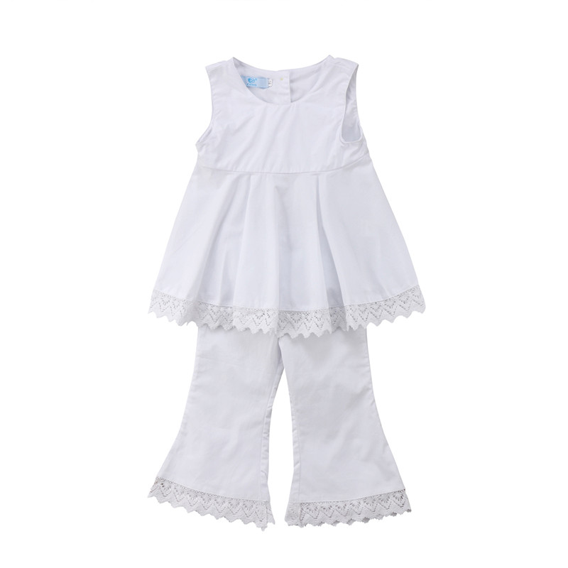 Newborn Kid Baby Girl Lace Clothes Set Summer Sleeveless Solid White T Shirt Tops Pants Girls Clothing Cotton Cute Outfit 2PCs 1 6y baby clothes outfit summer kid girls short sleeve floral t shirt tops cropped pants children fashion suits 2pcs set