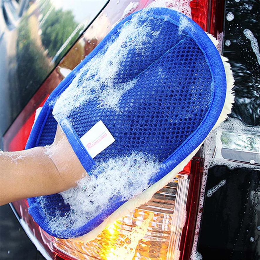 1pc Car Wash Clean Sponge Gloves Glass Cleaner Blue Wave Car Wash Washer Auto Care Cleaning Tool Car Styling For Dropshipping Customers First Sponges, Cloths & Brushes