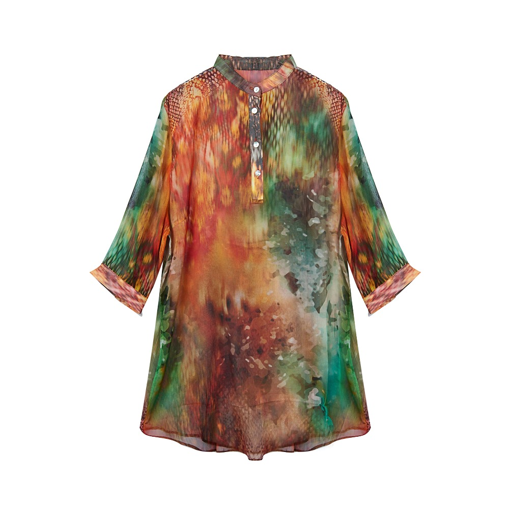 100 Silk Crinkle Chiffon Women Shirt Natural Pure Silk Fabric New Desigual Printed Shirts New Arrival