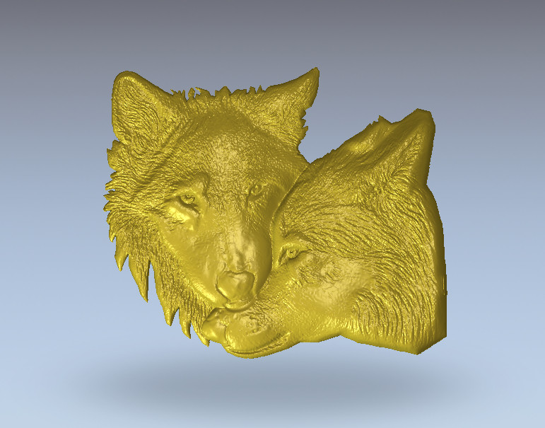 3D Model Wolves Lovers Relief Statue Figure For Artcam Type3 Cnc Router Engraving STL Format File For Sale M426