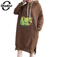 Oladivi Oversized Plus Size Women Clothing Fashion Print Casual Sweatshirt Dresses Female Hooded Dress Long Tops