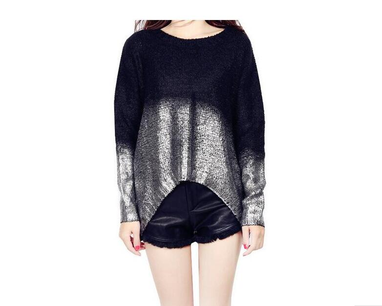 3886b02ade Gold Hot Stamping Loose Long Sleeve Knitted Sweaters For Women Graduated  Colors Pullovers wholesales-in Pullovers from Women s Clothing on  Aliexpress.com ...