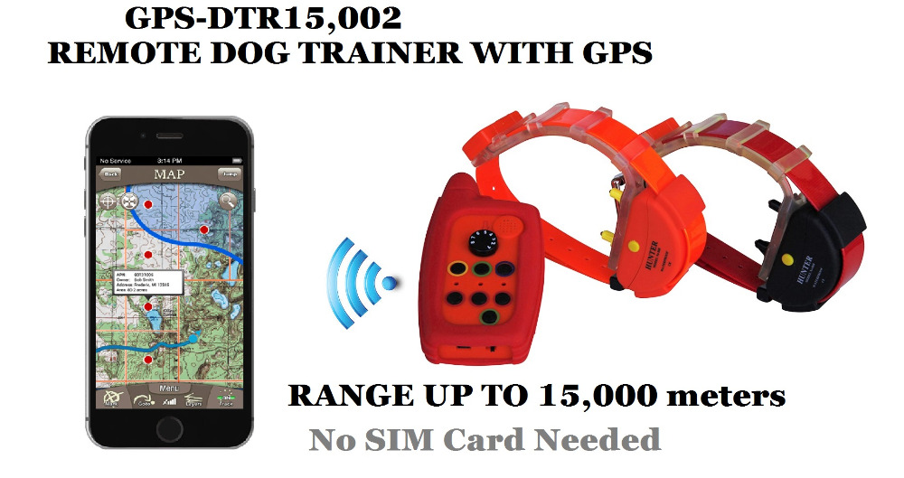 WATERPROOF DOG TRAINING COLORAR with GPS TRACKER with 2 DOGS 15KM RANGE BUILD with ANTENNA