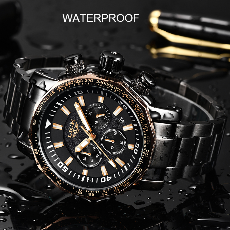LIGE Mens Watches Top Luxury Brand Military Sport Watch Men Waterproof Stainless Steel Clock Quartz Watch Relogio Masculino+Box image