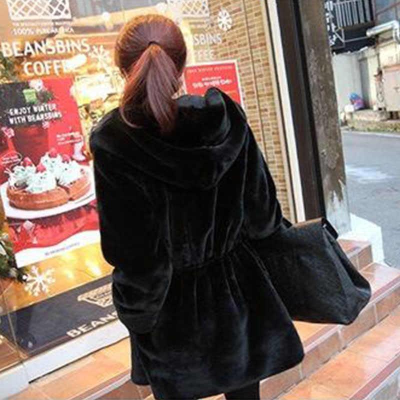 2019 Kore versiyonu Kış Ceket Yeni Kadın Kapüşonlu Giyim Orta-uzun Her iki Tarafın giymek Sıcak İmitasyon vizon kadife Kadın ceket