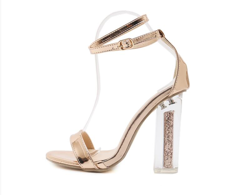 0092f4f54b6 JINJOE Woman shoes Crystal shoes Coarse heel Sexy sandals champagne ...