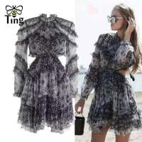 Tingfly Fashion Designer Runway Mini Dress Women's Backless Ruffles Floral Print Chiffon Mini Dress Sexy Backless Party Dresses