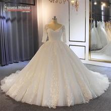 Nowy model gelinlik shinny suknia ślubna z pół rękawy nowy model sukienka dla nowożeńców
