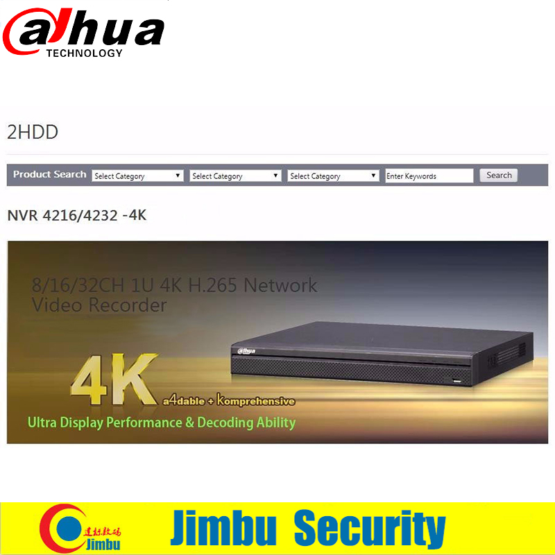 Dahua 16CH 1U 4K H 265 Network Video Recorder NVR4216 4K 2 SATA HDDs up to