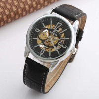New Mens Watches Military Army Sport Clock Male Top Brand Luxury Leather Skeleton Automatic Mechanical Men