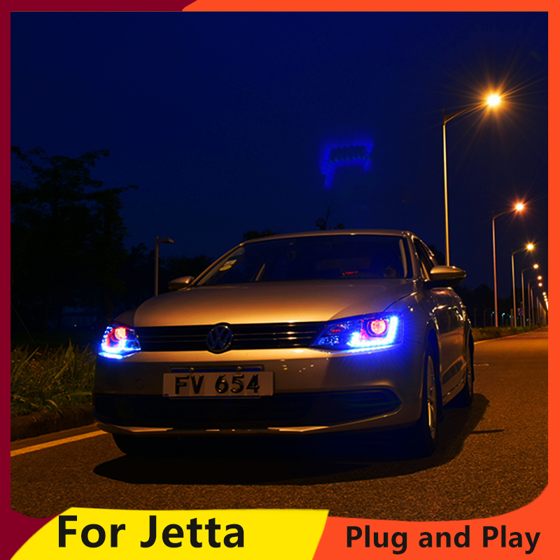 KOWELL Car Styling For vw jetta headlights For VW jetta MK6 head lamps with LED guide car styling bi xenon lens car assembly