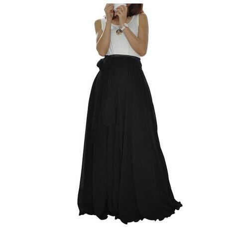 2017 Spring Chiffon Vintage Long Pleated Skirts Womens High Waist Floor Length White Flare Maxi Skirt Plus Size 6 Xl by Wbctw