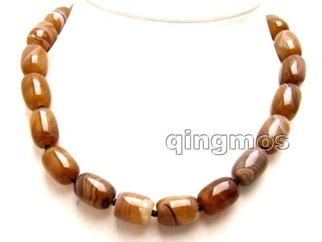 "SALE Genuine Big 12*16mm Column shape Natural Gray Striped agate 17"" Necklace-nec5983 wholesale/retail Free shipping"