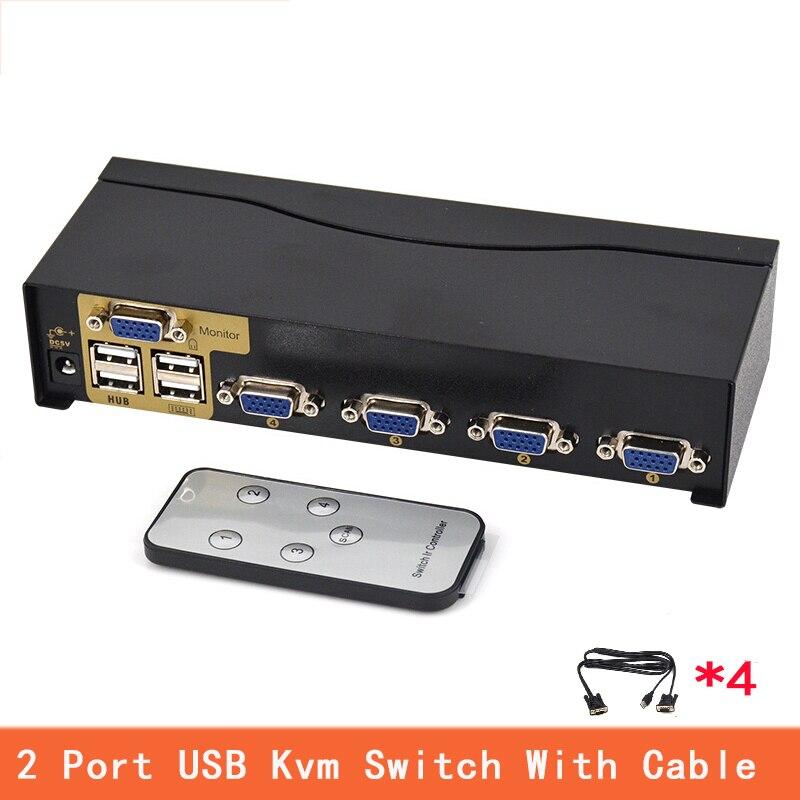 4 ports USB Kvm commutateur VGA séparateur Schalter adaptateur Drucker Verbinden Tastatur Maus 4 ordinateur Verwenden 1 moniteur avec câble