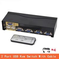 4 Port USB Kvm Switch VGA Splitter Schalter Adapter Drucker Verbinden Tastatur Maus 4 Computer Verwenden 1 Monitor with cable