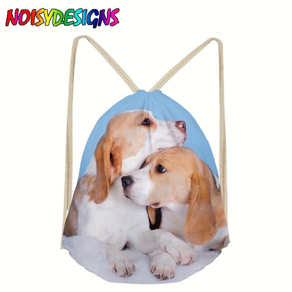 Cotton Drawstring Bag Women Unisex Beagle Dog Printing Linen Drawstring Bags For Teenagers Fashion Pocket Large Capacity Mochila
