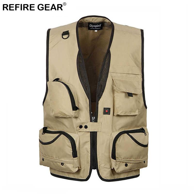 Chaleco salvavidas para pesca y deportes al aire libre Refire Gear, chaleco táctico con múltiples bolsillos y malla transpirable para hombre, chalecos secos rápidos desmontables