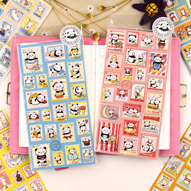 Cute Cat Panda Nekoni Shiba Stamp Style Bullet Journal Decorative Stationery Stickers Scrapbooking DIY Diary Album Stick