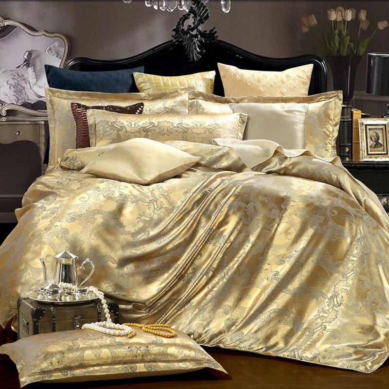 SINONICS Silk Bedding Set 4pcs Tencel Duvet Cover Sets Satin Bedding Bed Linen Flat Bed Sheet Set Home Textile Drop Ship