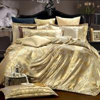 SINONICS Silk Bedding Set 4pcs Tencel Duvet Cover Sets Satin Bedding Bed Linen Flat Bed Sheet Set Home Textile Drop Ship