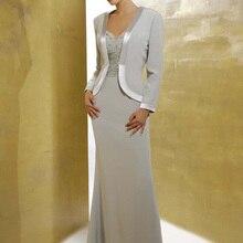 Шифоновые платья с v-образным вырезом для матери невесты с жакетом, роскошные костюмы с блестками для матери невесты, брючные костюмы, vestido de madrinha
