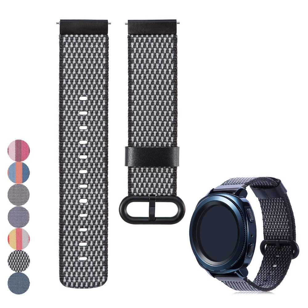 22mm 20mm Fabric Nylon Bracelet Loop Watch Band Strap Quick Release Pins for Samsung Gear S3 Frontier / S2 Classic Quick Release