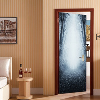 Wall Stickers Self Adhesive Fog Forest Entrance Creative 3D Door Stickers Individual Wooden Doors Decorative Stickers