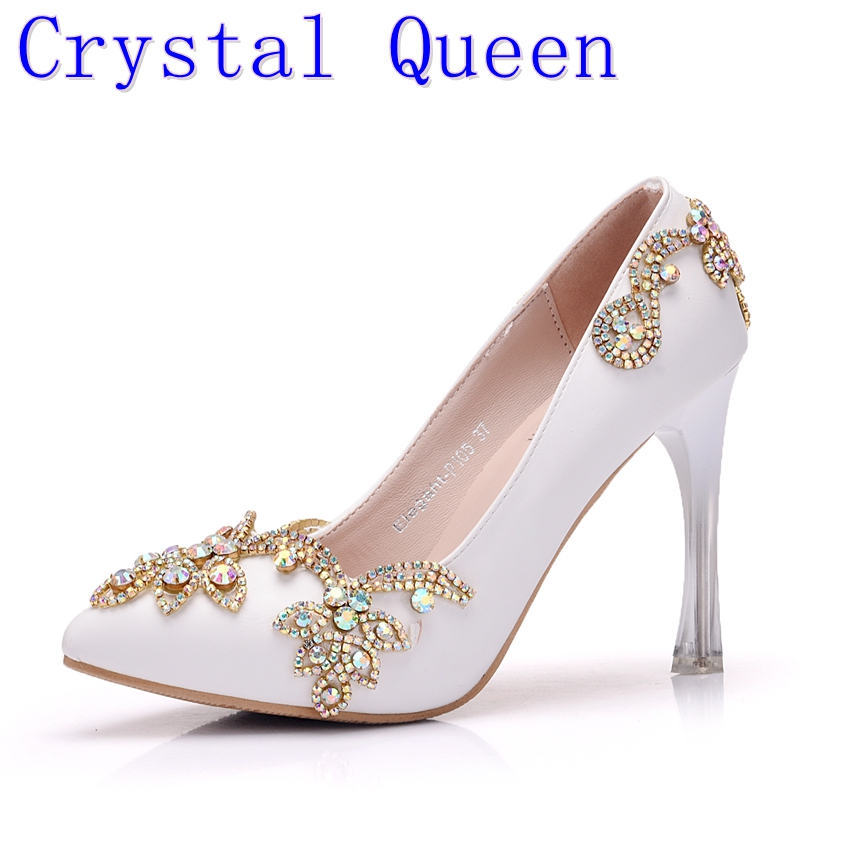 Crystal Queen Invisible Platform Pointed Toe pumps Rhinestone Heels Women Thin High Heels Pointed Toe Shoes Wedding Party Heels annymoli genuine leather women high heels platform shoes crystal pointed toe thin heels wedding shoes bridal beige elegant pumps