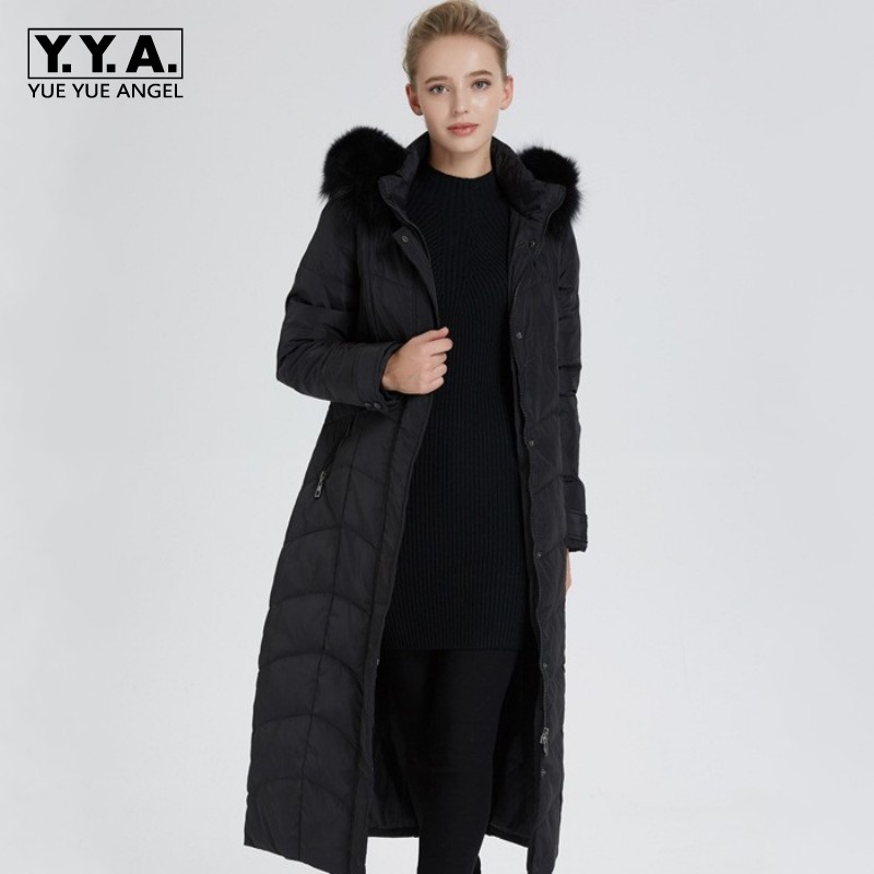 42-100 KG Duck Down Jacket Women Large Size Big Fur Collar Womens Down Coat Zip Outerwear For Women Black Plus Long Coat Female
