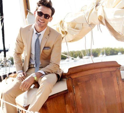 2017 Latest Coat Pant Designs Champagne Tan Linen Suits Men Beach ...