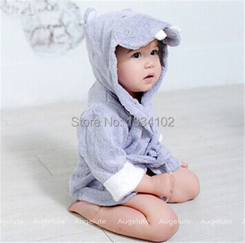 Hot! Retail boy girl Animal Baby bathrobe / baby hooded bath towel/kids bath terry children infant bathing / baby robe HoneyBaby