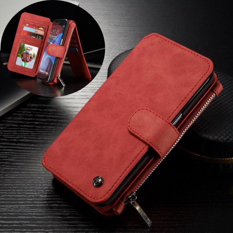 For Samsung S 7 Edge Phone Case CASEME 14 Slots Detachable 2 in 1 Split Leather