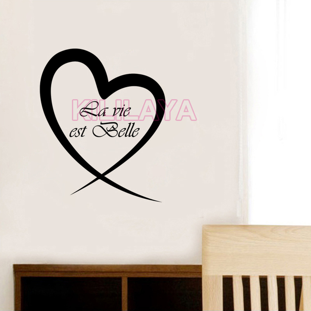 French Stickers La vie est belle Heart Vinyl Wall Decals Removable